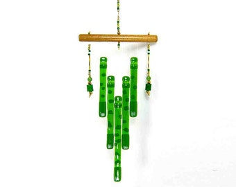Froggy Green Wind Chime Fused Glass