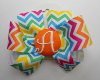 Girls Hairbow, Personalized initial, Summer Hair Bow,  Chevron multi colored, Rainbow, Medium, Easter