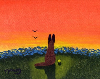Belgian Malinois Dog Folk art print by Todd Young DAWN