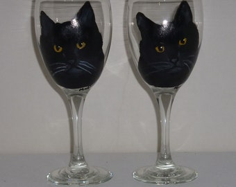 Black Cat Wine Glasses Hand Painted  set of 2 Pet Lovers Boutique