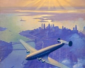 Large 20x24 Sunset Over Manhattan NEW YORK Constellation Connie Art Deco Airplane Travel 30s Vintage American, TWA, Pan Am United Airlines