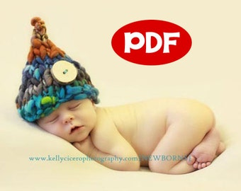 PDF KNITTING PATTERN - 001 Wee Sprite Hat - Newborn Photography Prop, Thick and Thin Handspun Yarn - Sell what you make