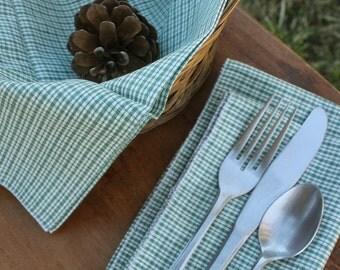 green homespun napkins and bread cloth