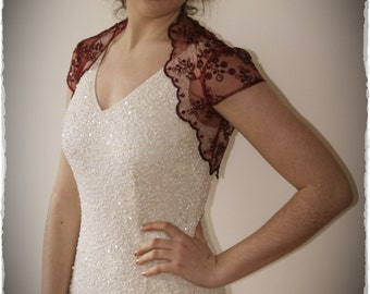 Claret Red Lace Bridal Shrug