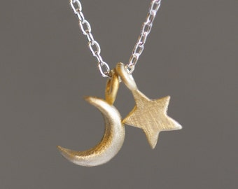 Small Moon and Star Necklace in 14K and Sterling Silver
