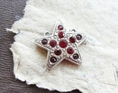 Red Star Pendant with Rhinestones