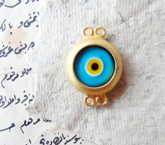 Golden Evil Eye Connector Pendant