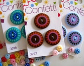 SALE Buttons 9 Confetti set 3 designs and 3 of each as shown 2cm