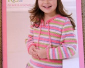 Bernat Kool Kids Girl Boy knit crochet cottontots poncho hoodie sweater book pattern