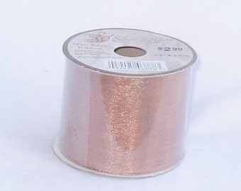 ribbon, copper, wire edge, gifts of gold, 3 yds, F, destash