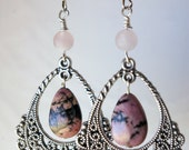 Handmade Rhodonite and Rose Quartz Beaded Dangling Earrings