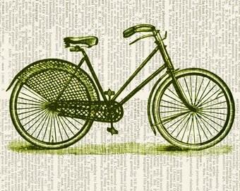 bike print in green print