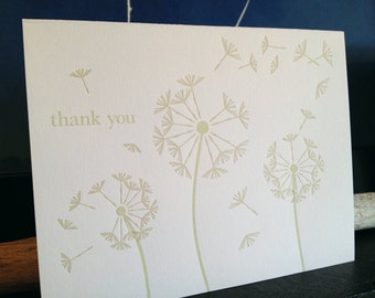 Letterpress Green Dandelion Thank You Notecards