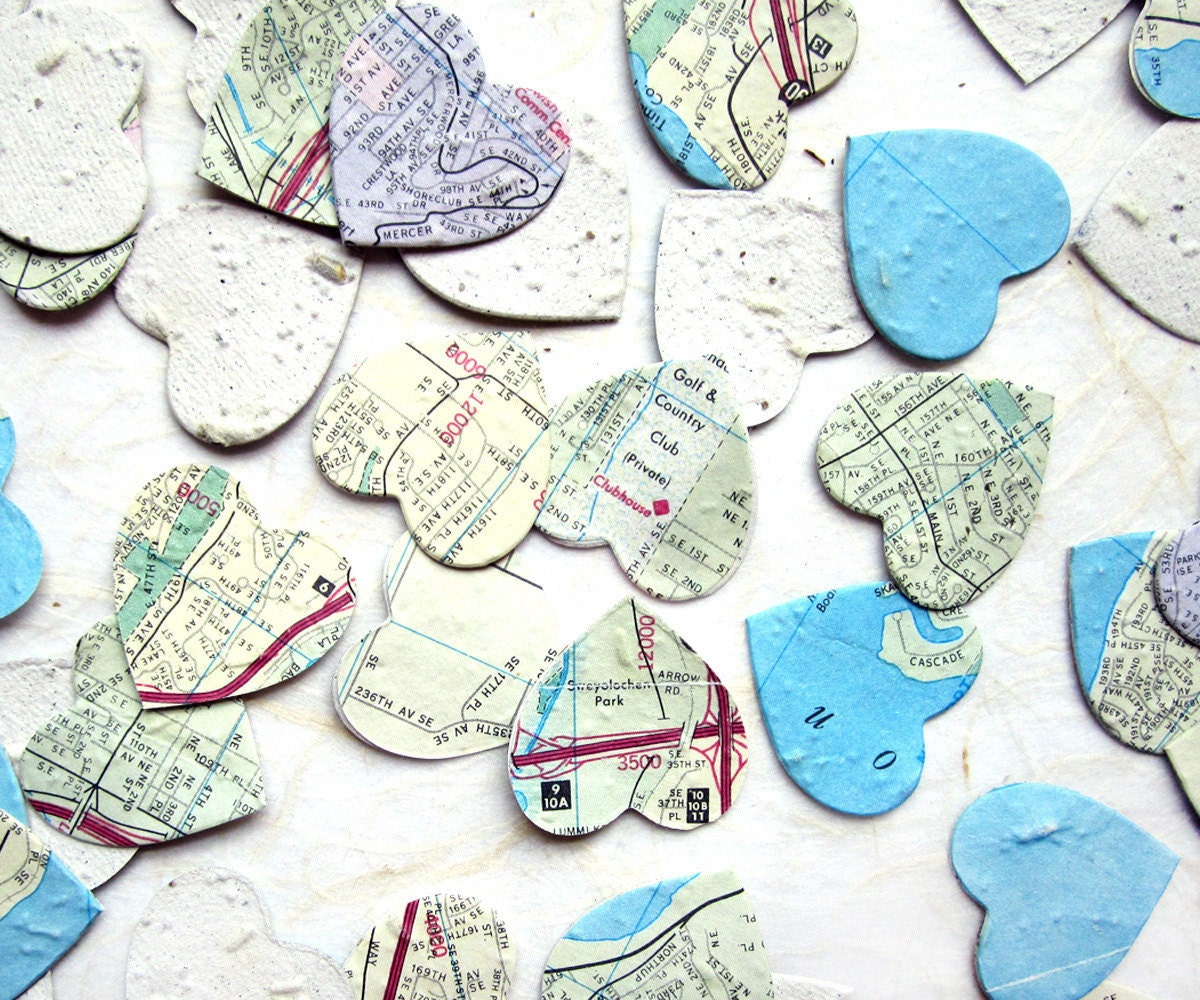 Flower Seed Wedding Favours: 100 Seed Map Hearts Flower Seed Paper Wedding Favor Hearts