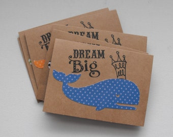 Whale Greeting Card Set  of Six Hello  Birthday Celebration Any occasion Dream Big Chevron Stripes Polka Dots