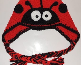 PDF Crochet Pattern for Lady Bug Hat Adult and Child Sizes