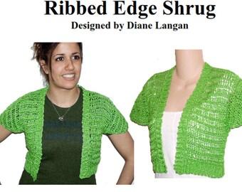 Green Cap Sleeve Ribbed Edge Cropped Cardigan Shrug  Crochet Pattern pdf