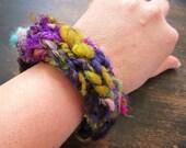 Bohemian knit Bangle Bracelet. Purple. Chartreuse. Textile bracelet. Boho Chic.