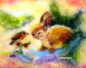 Bunny and bird friendship art for childen, wall decoration, print of my original needle felted wool painting, large size