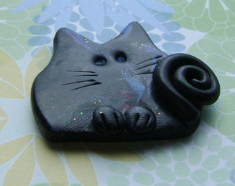 Little Black marbled Polymer Clay Cat brooch or magnet