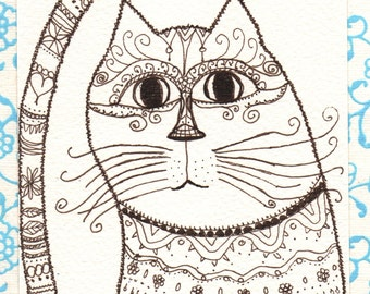 Ink Drawing - princess lady cat - original