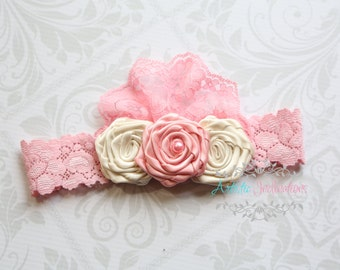 Hush Little Baby - Pink and Ivory Handmadd Trio of Rosettes Headband by Artistic Inclinations