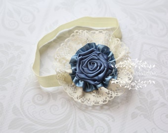 Vintage Dreams - Blue and Ivory Baby Headband with a Handmade Rosette and lace