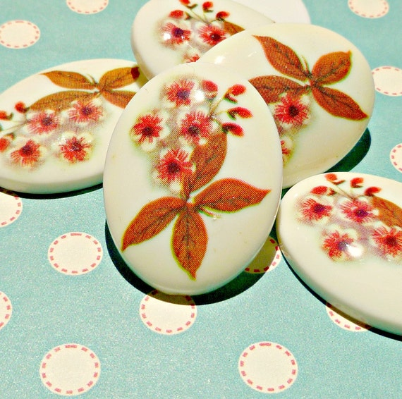 Two Vintage Wildflower 30x22mm Acrylic Cabochons (43-14B-2)