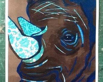 Blue Tusk Rhino Limited Edition Print Sale