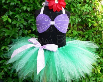 "Little Mermaid Tutu, Girls Tutu, Birthday Tutu, Tutu Set, 8"" Pixie Tutu Ariel Costume, Sea Shell Seashell Bra Top, Headband, Mermaid Tutu"