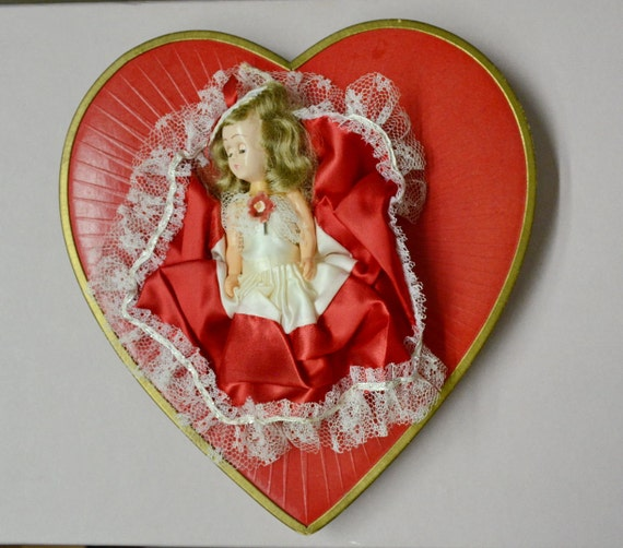 Vintage Valentine Box Whitmans Red Heart Doll 60s By