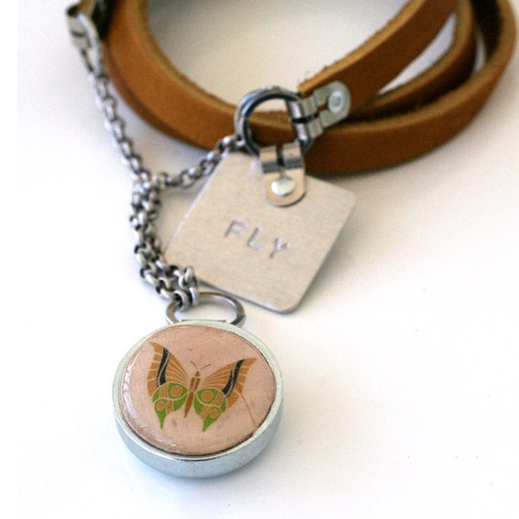 ButterFLY Recycled Necklace, Recycled Cork Necklace, Leather Bib Necklace, Stamped Jewelry by Uncorked
