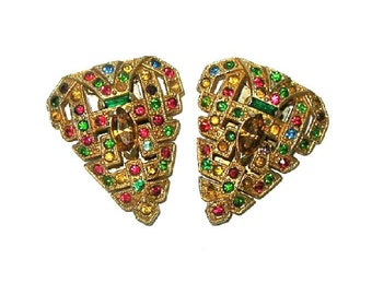 Antique Art Deco Shoe Clips Dress Clips Multicolored Glass Rhinestones