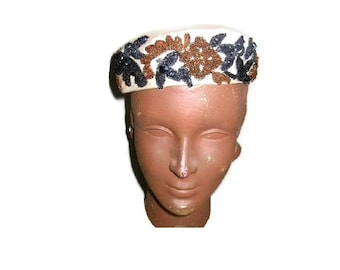 Vintage Cecille Lorraine Pillbox Hat Sequins Beads Bronze Black White