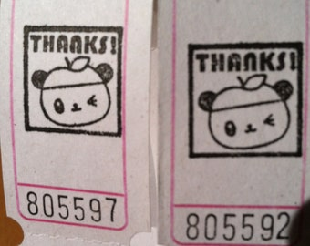 Panda with an Apple Hat THANKS Vintage Style Hand Stamped Carnival Tickets