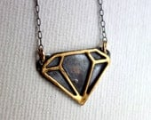 Black and Gold Stering Silver and Brass Diamond Cut-out Pendant on SALE