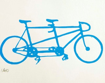 Bicycle Art Print - Schwinn Fixed Gear Tandem in Blue