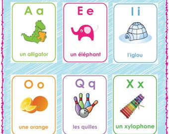 Printable French Alphabet Flash Cards - A-Z