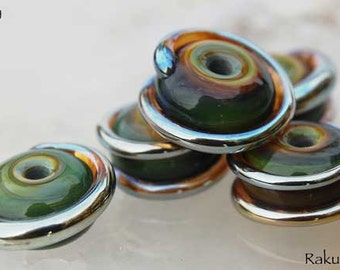 5 Raku Spirals,  earthy handmade glass beads, organic lampwork green brown gold Beadfairy Lampwork, SRA