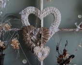 Grace and Remembrance - Abandoned Vintage Linen and Burlap Set of Heart Wreaths for Wedding and Home Decor