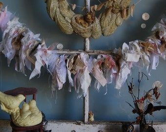 Sunset - Abandoned Vintage Burlap, Lace and Fabric Rag Shabby Chic Garland