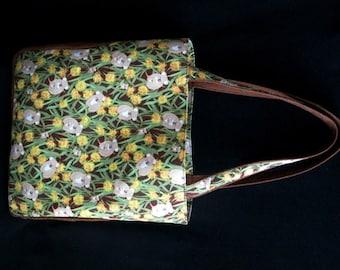 KOALA and GUM TREE Print Large Fabric Handbag Tote Purse