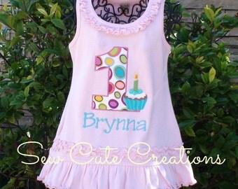 Cupcake Birthday Dress, Girl Birthday Dress, Cupcake Party dress, Cupcake birthday outfit, Sew cute Creations