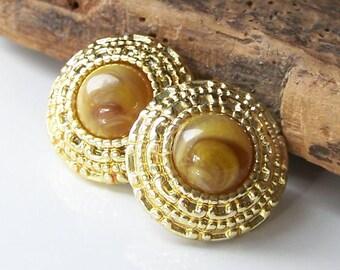 REDUCEDVintage Faux Plastic Earrings, Vintage Gold Plastic Earrings, Vintage Faux Gemstone Earrings, Vintage Jewelry, Etsy, Etsy Jewelry