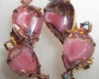 Pretty in PINK Chunky Rhinestone Vintage Earrings