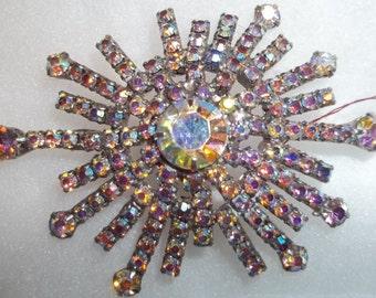 FABULOUS Sparkly Vintage Rhinestone Starburst Brooch Pin