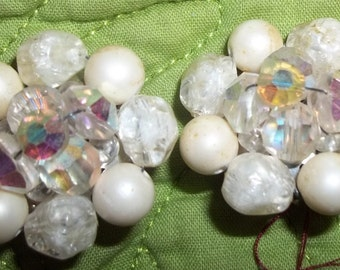 Lovely Vintage Pearl and Crystal COLLAGE Cluster Earrings