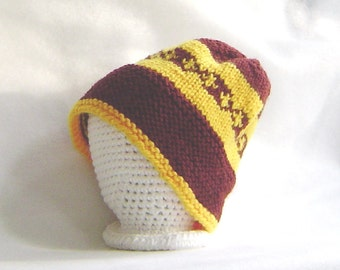 Hand knit  childs ski cap, skullcap, beanie, Fair Isle design gold and burgundy