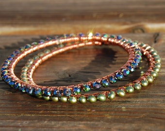 Duo of Handcrafted Copper - Pearl and Crystal Wrapped Bangles - 2 Bracelet Set