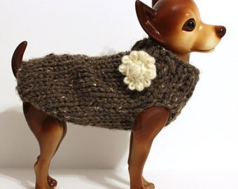 Rustic Dog Sweater with Flower - Hand Knit